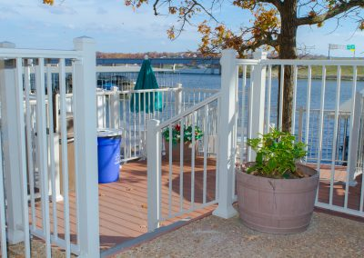 Sq Baluster Railing - White Commercial Waterfront Cafe w- traditional post base covers