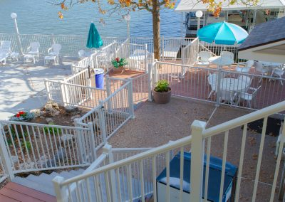 Sq Baluster Railing - White Commercial Waterfront Cafe w- traditional post base covers GREAT Photo